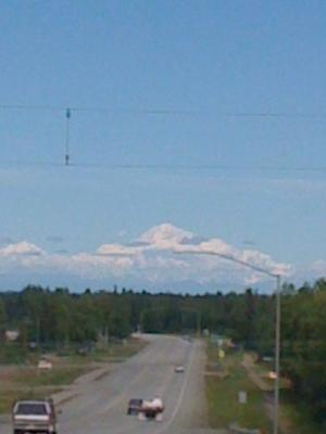 Mt. McKinley (Dinali) as seen from Parks Highway.  Still 75-100 miles away