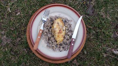 Mushroom sauce with orange chicken breast