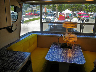 Interior of restored Holiday House Trailer