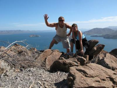 My wife and I on top of the world viewing the Sea of Cortes