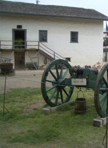 An original cannon inside Sutter's Fort, in downtown Sacramento, CA