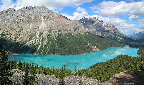 Peyto Lake in Banff National Park.  This water color is caused by glacier water.  Photograph By Tobias Alt